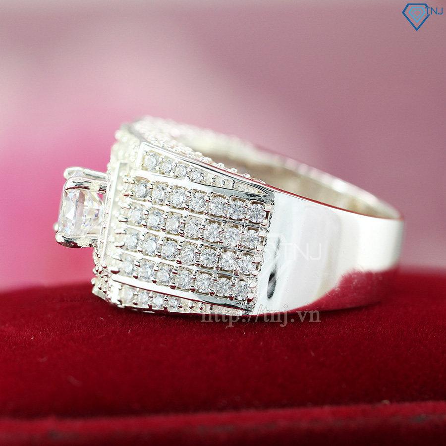 Nhẫn nam bạc đính mặt đá trắng sang trọng NNA0094