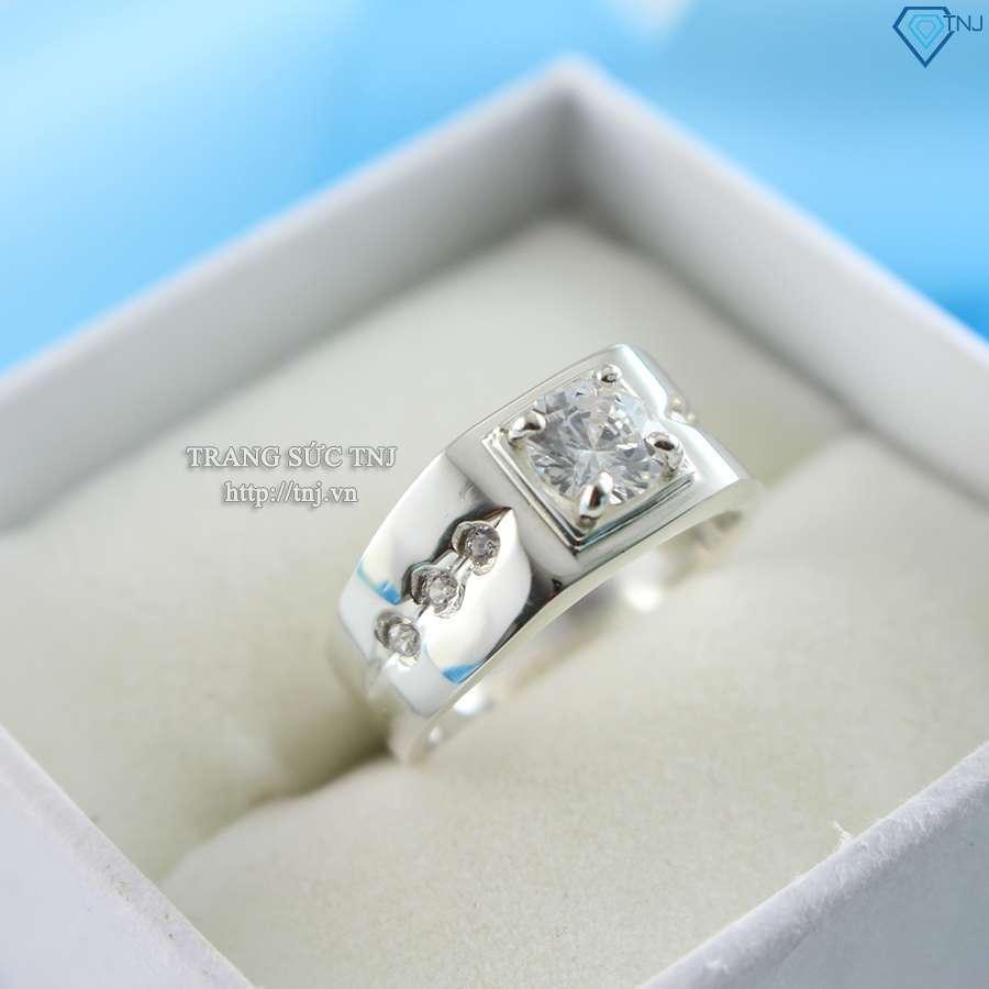 nhẫn bạc nam đẹp đính đá mạnh mẽ NNA0049