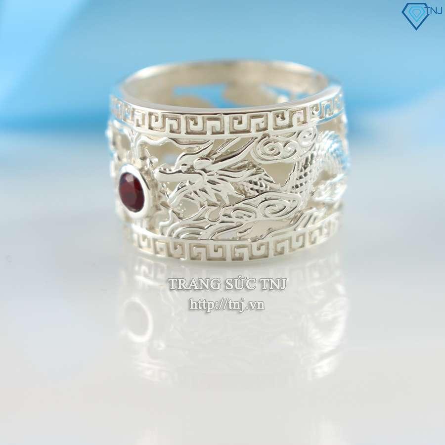 nhẫn bạc nam đẹp hình rồng phượng đính đá mạnh mẽ NNA0054