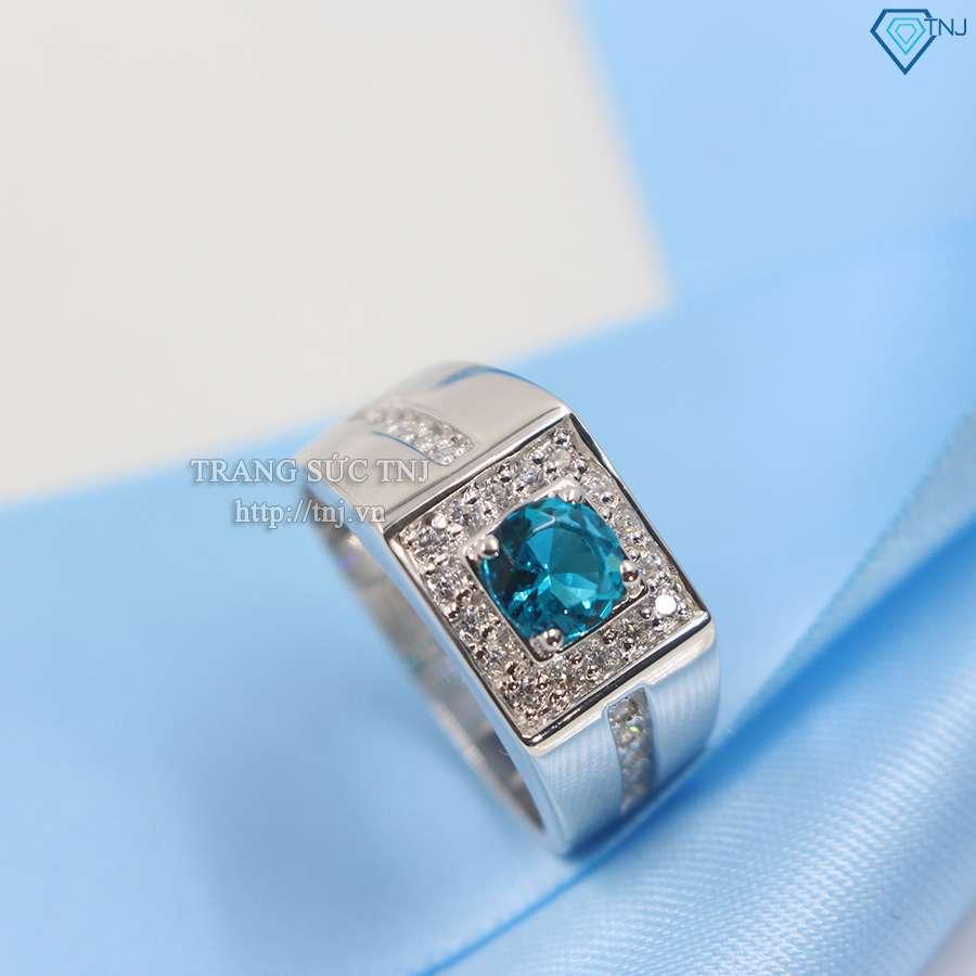 nhẫn bạc nam đẹp đính đá xanh mạnh mẽ đẳng cấp NNA0062