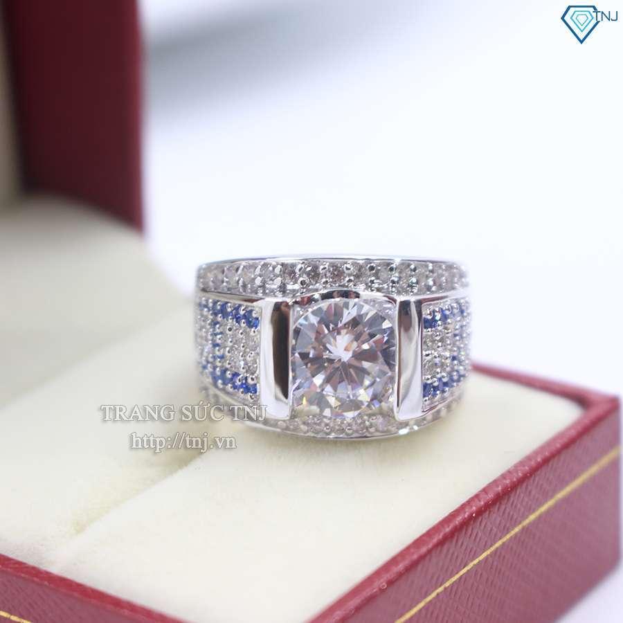 nhẫn bạc nam đẹp đính đá xanh đá trắng NNA0063
