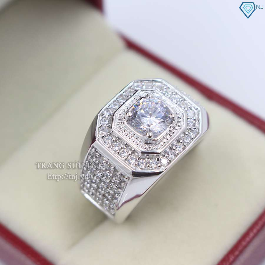 nhẫn bạc nam đẹp đính đá sang trọng NNA0064