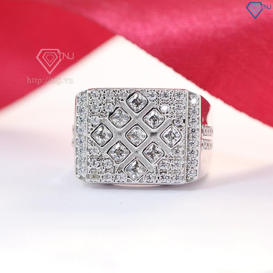 Nhẫn nam bạc đính mặt đá trắng sang trọng NNA0072