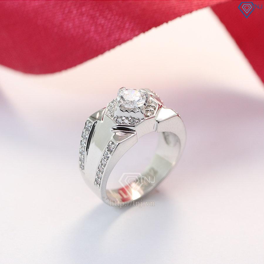 Nhẫn nam bạc đính mặt đá trắng sang trọng NNA0095