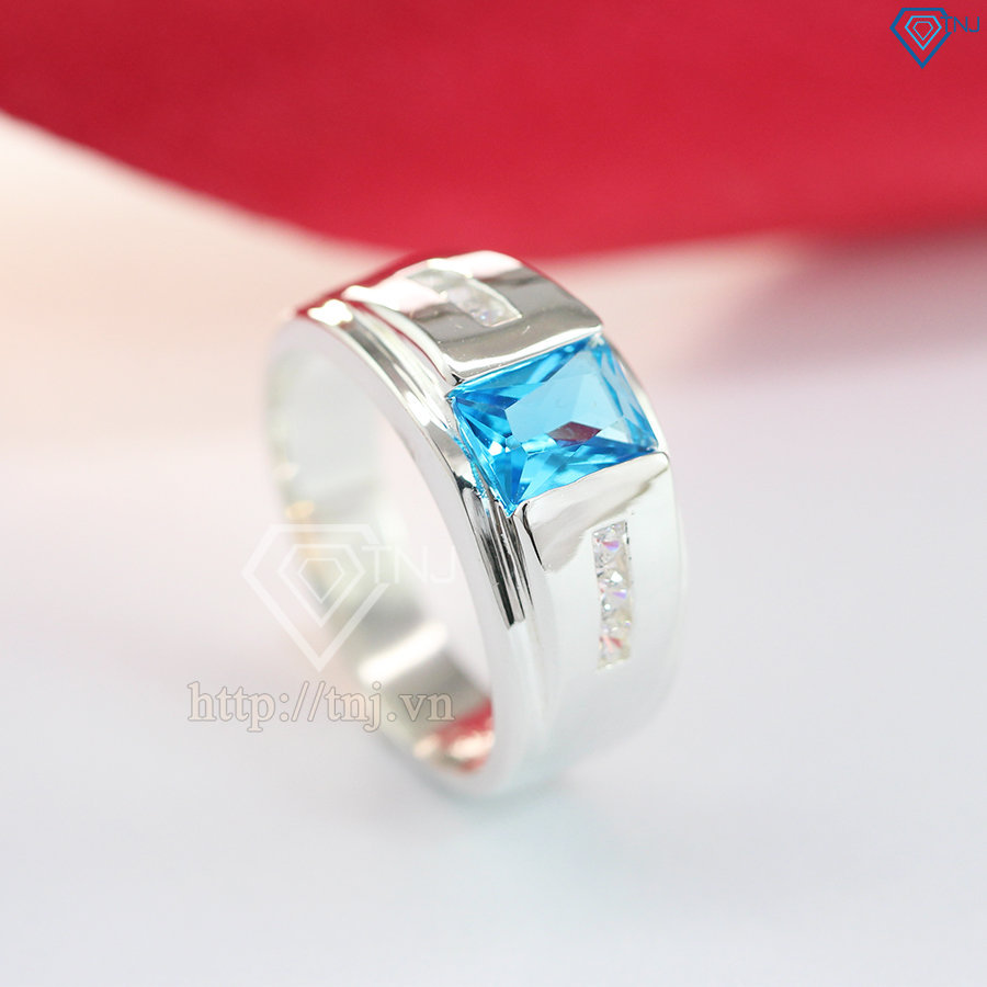 nhẫn bạc nam đẹp mặt đá xanh dương sang trọng NNA0093