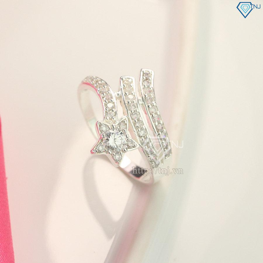 Nhẫn bạc nữ bản to hình sao đẹp đính đá cao cấp NN0120
