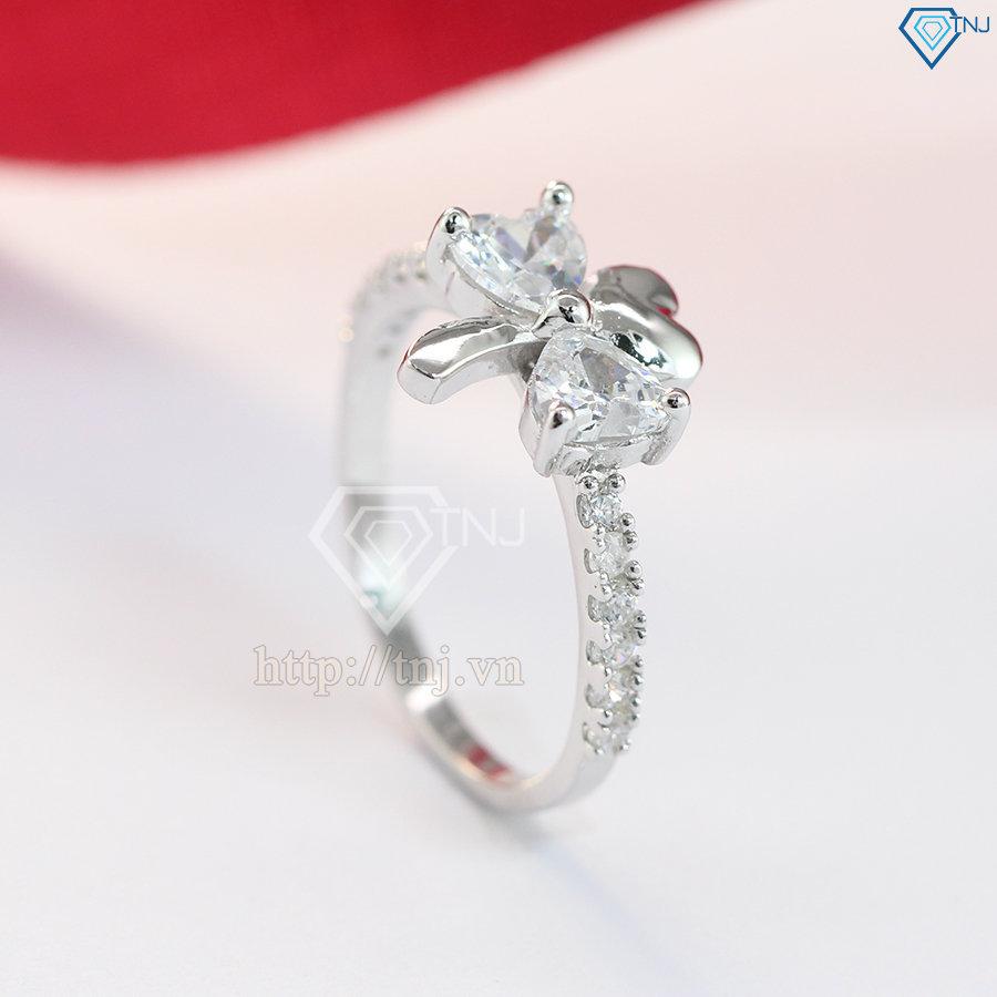 Nhẫn bạc nữ hình cỏ 3 lá đính đá đẹp NN0125