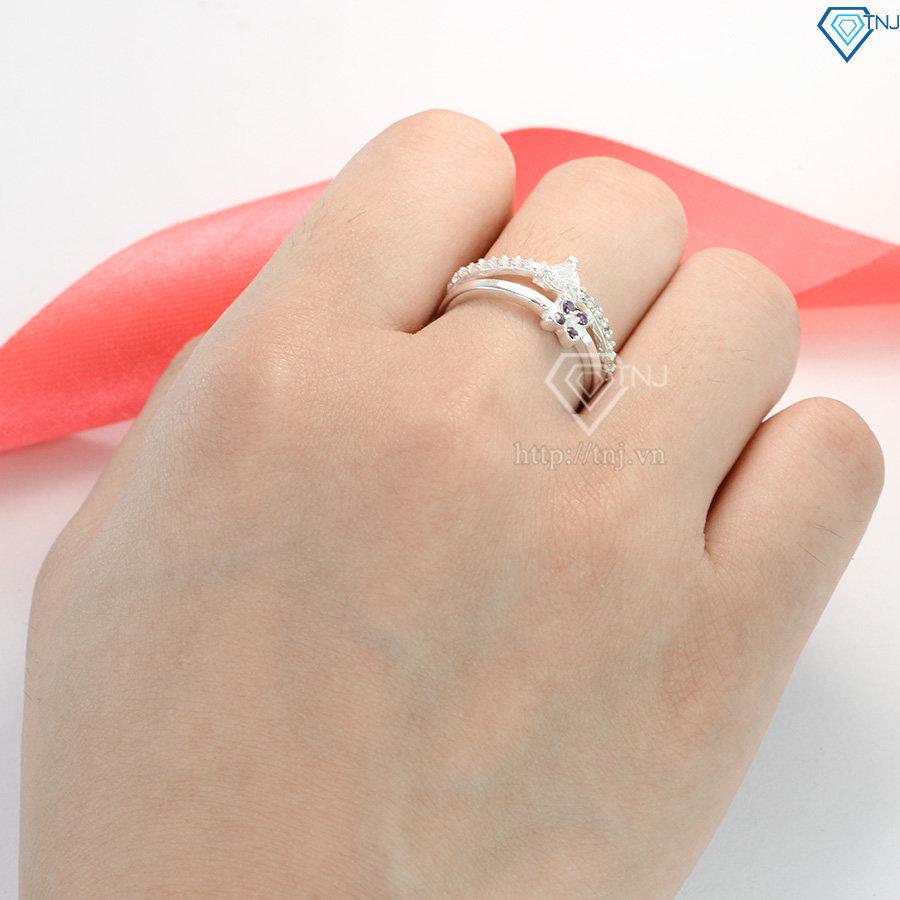 Nhẫn bạc nữ hình bông hoa đẹp đính đá cao cấp NN0167