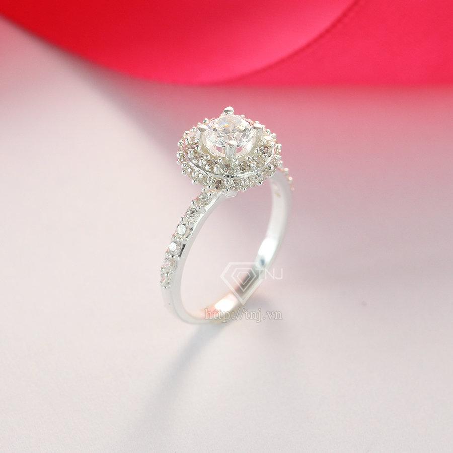 nhẫn nữ bạc đính đá cao cấp NN0192