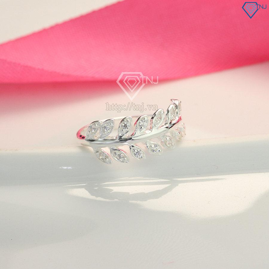 Nhẫn bạc nữ đeo ngón trỏ hình chiếc lá Nguyệt Quế NN0199