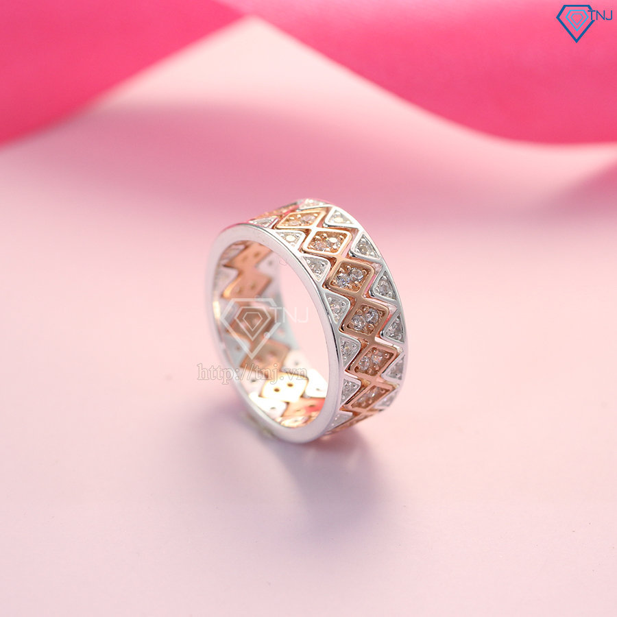 Nhẫn bạc nữ ghép 3 trong 1 xi mạ vàng 2 màu độc đáo NN0239