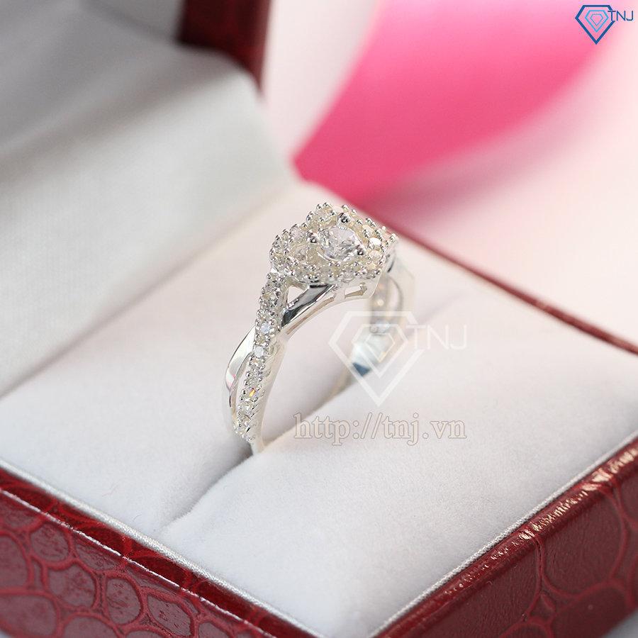 Nhẫn bạc nữ mặt trái tim đính đá đẹp NN0243