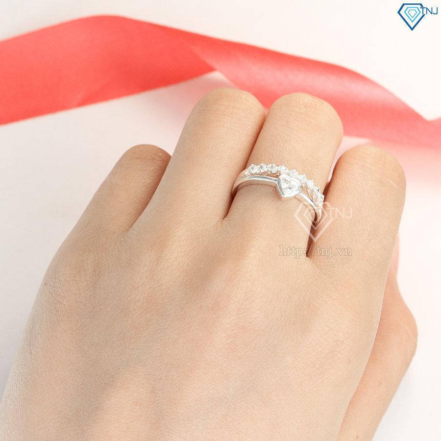 Nhẫn bạc nữ mặt trái tim đính đá đẹp NN0250