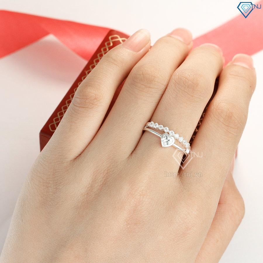 Nhẫn bạc nữ đá chìm mặt trái tim đẹp NN0250