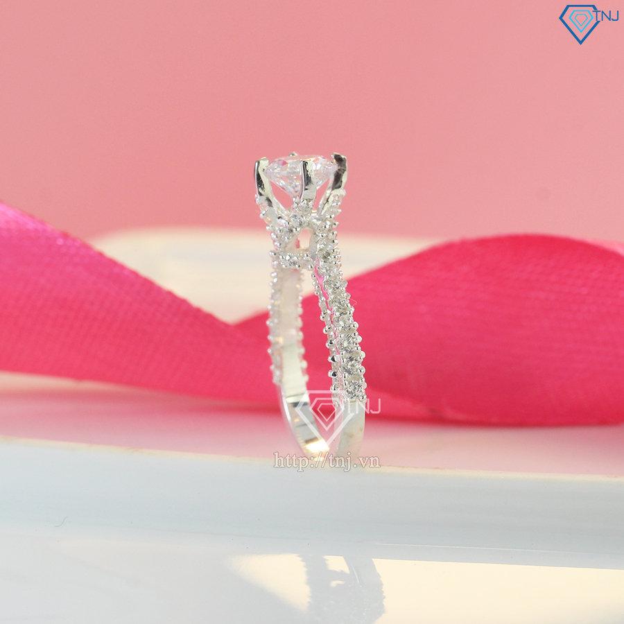 Nhẫn bạc nữ xoắn đính đá đẹp NN0315