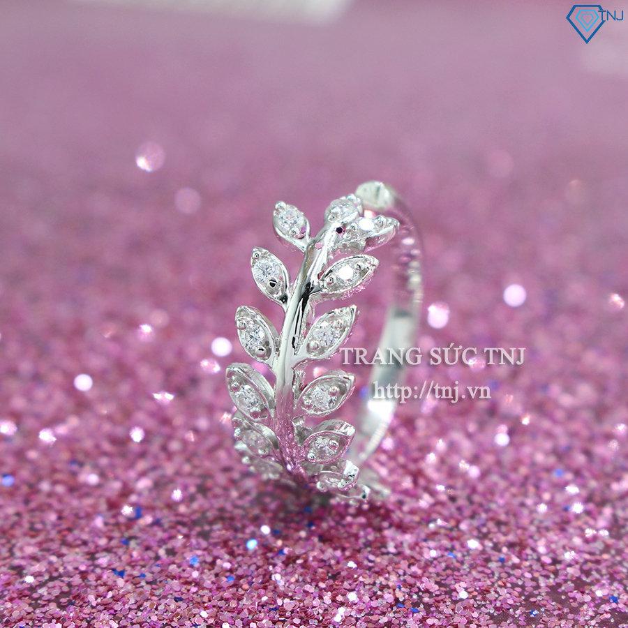 Nhẫn bạc hình chiếc lá Nguyệt Quế đính đá đẹp NN0199