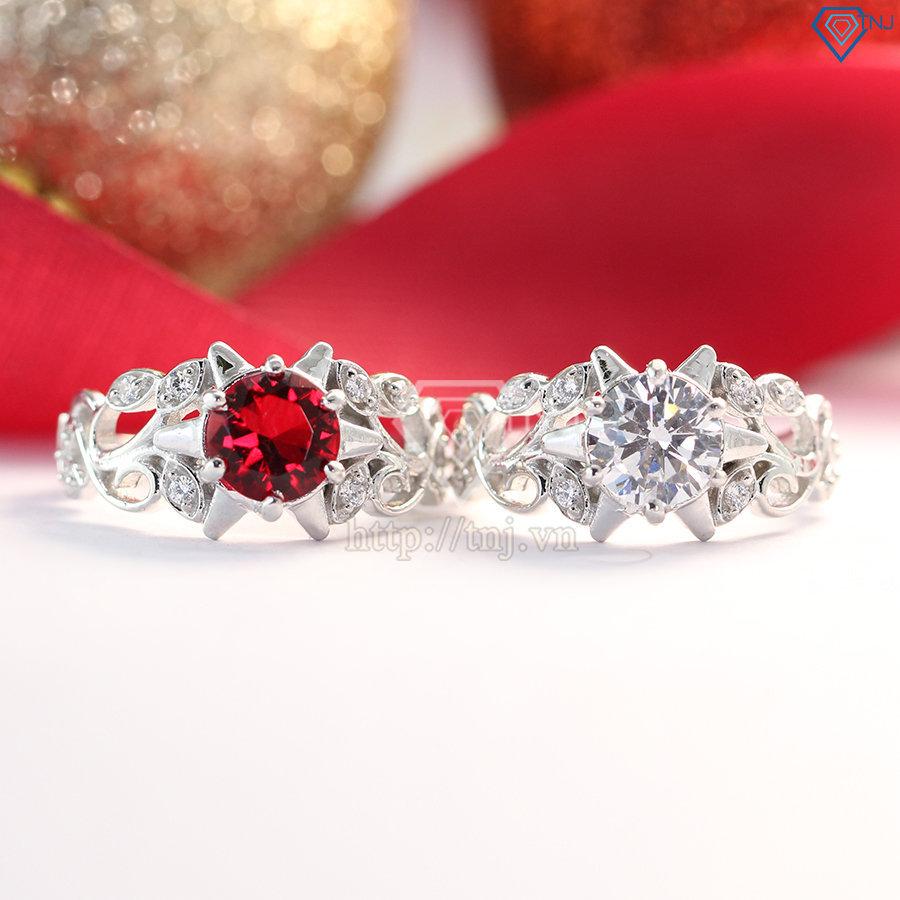 Nhẫn bạc nữ hình hoa hồng đính đá đẹp NN0153