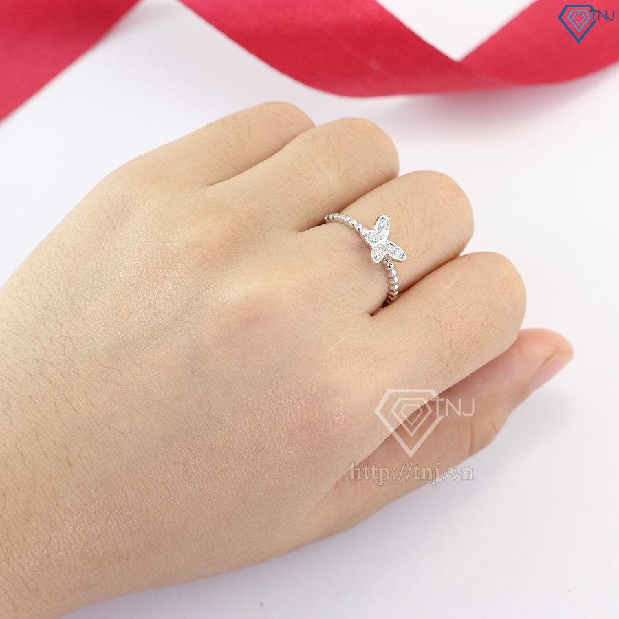 Nhẫn bạc nữ cánh bướm đính đá đẹp NN0226