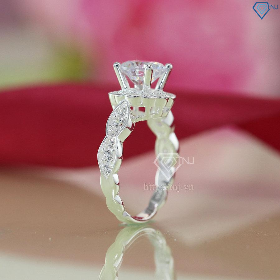 nhẫn nữ bạc đính đá cao cấp nn0235