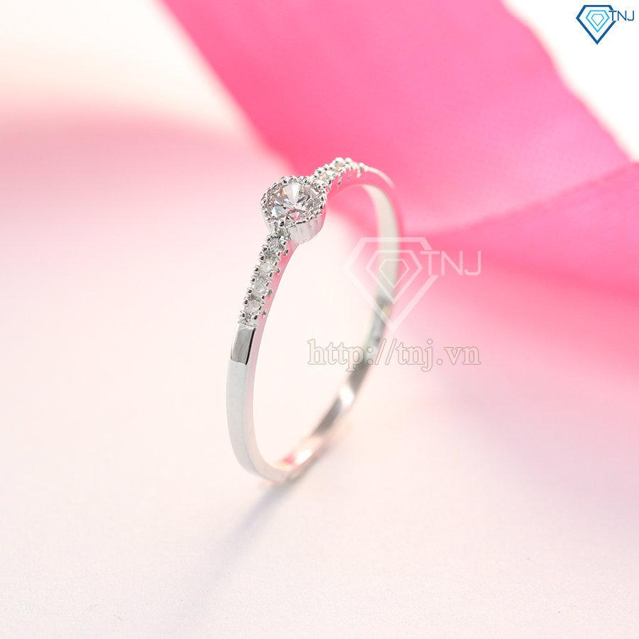 nhẫn bạc nữ đẹp đính đá đơn giản NN0196