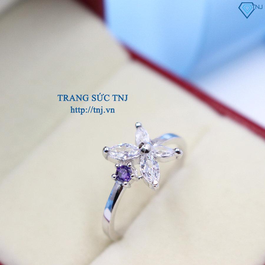 Nhẫn bạc nữ hình bông hoa đẹp đính đá cao cấp NN0168