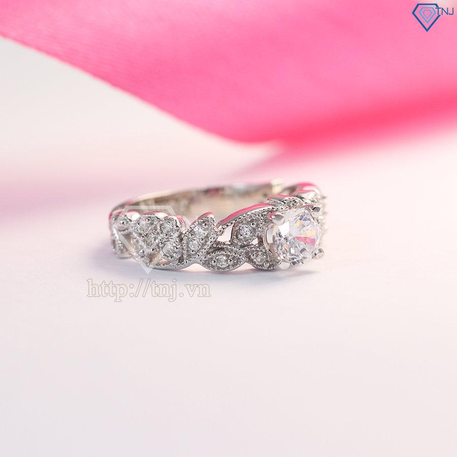 Nhẫn bạc nữ hình bông hoa hồng đính đá đẹp NN0233