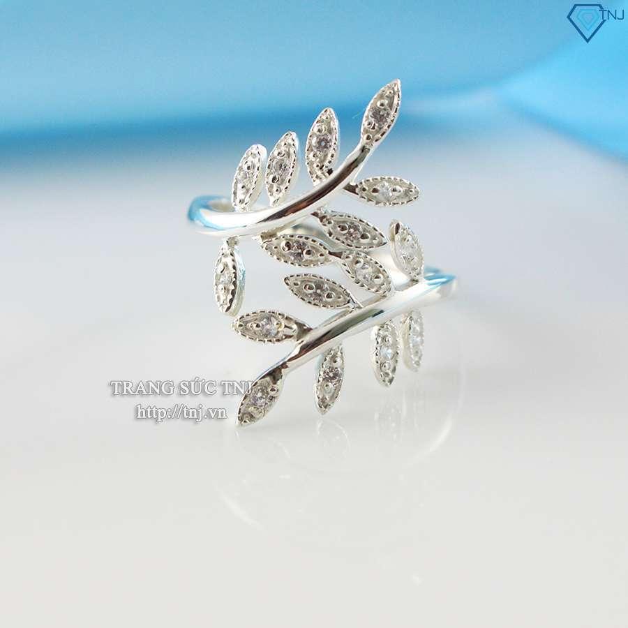 nhẫn nữ bạc hình lá đính đá cao cấp nn0154