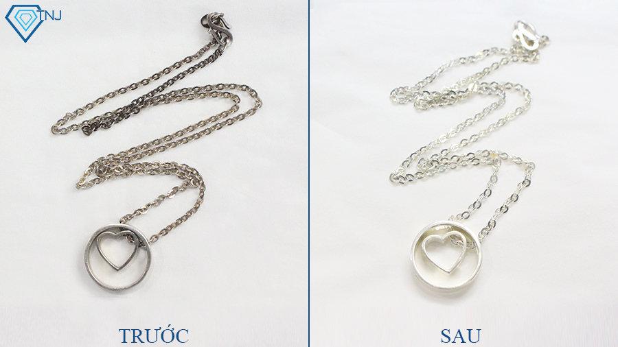 Sản phẩm trước và sau khi sử dụng nước rửa trang sức vàng bạc tnj